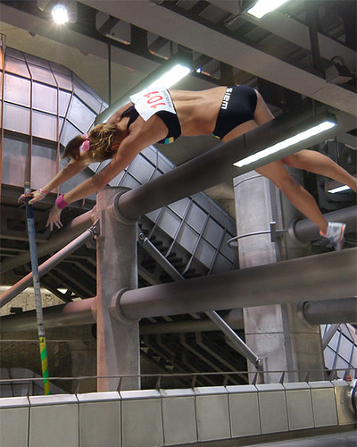 Pole vault at Westminster Tube - mock up by Jon Justice