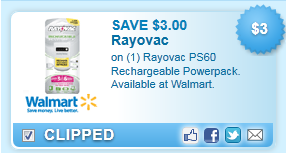 Rayovac Ps60 Rechargeable Powerpack. Available At Walmart. Coupon