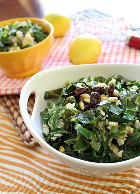 Spicy collard greens with rice