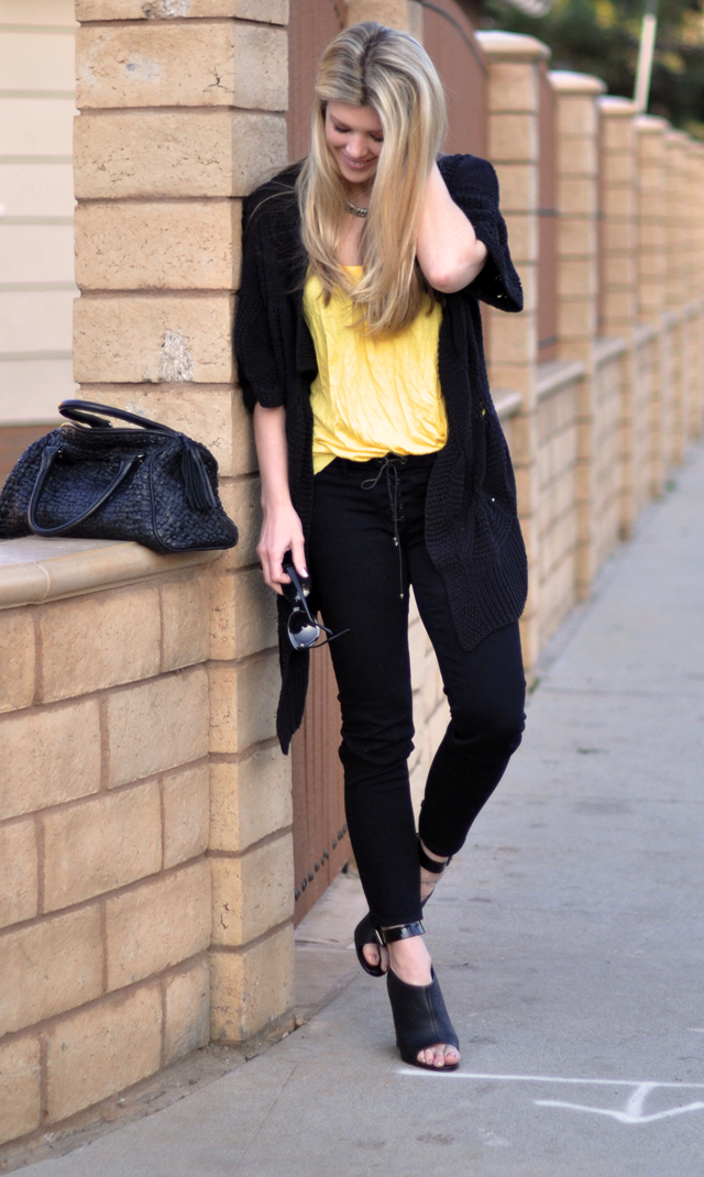 black and brights - yellow and black outfit, fashion