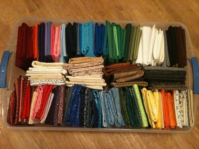 Rainbow box of solid and blender fabrics