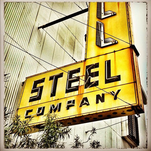 Vintage neon sign for Schill Steel Company, on 11th Street in Houston's Timbergrove area.
