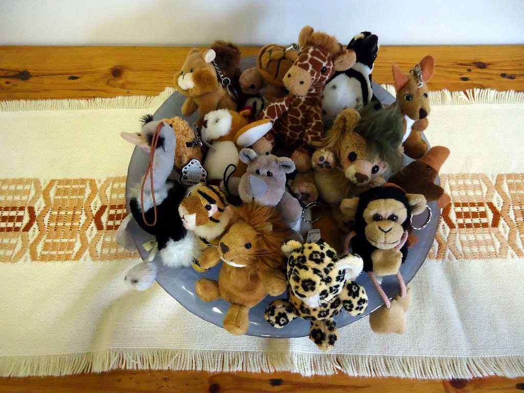 Bowl of wild animals from above