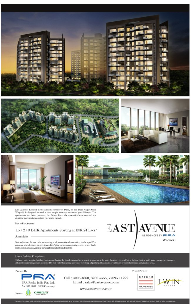 PRA East Avenue 1.5 BHK 2 BHK 3 BHK Flats at Wagholi Pune 412 207 - Launch Ad - Published on 31-1-2012 - 2