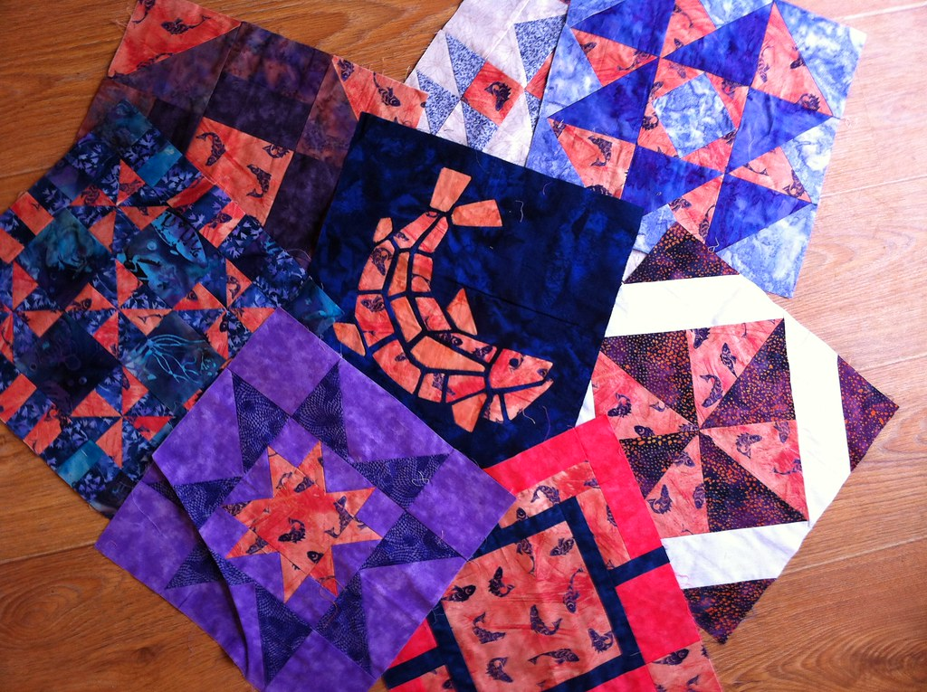 Purple and coral quilt blocks