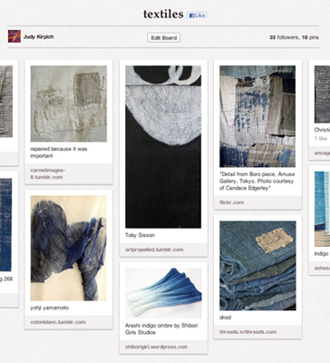 An example of Judy's Pinterest textile board.