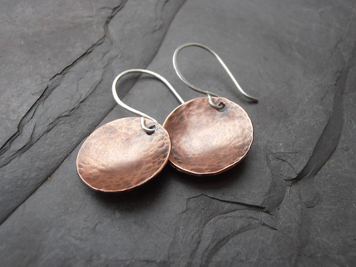 copper domed disc earrings by greensladejenny