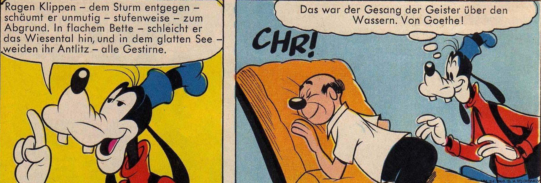 Micky Maus, Lustige Taschenbücher, Goofy zitiert Goethe