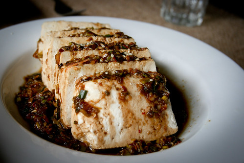 Warm Tofu with Garlic & Sesame Sauce