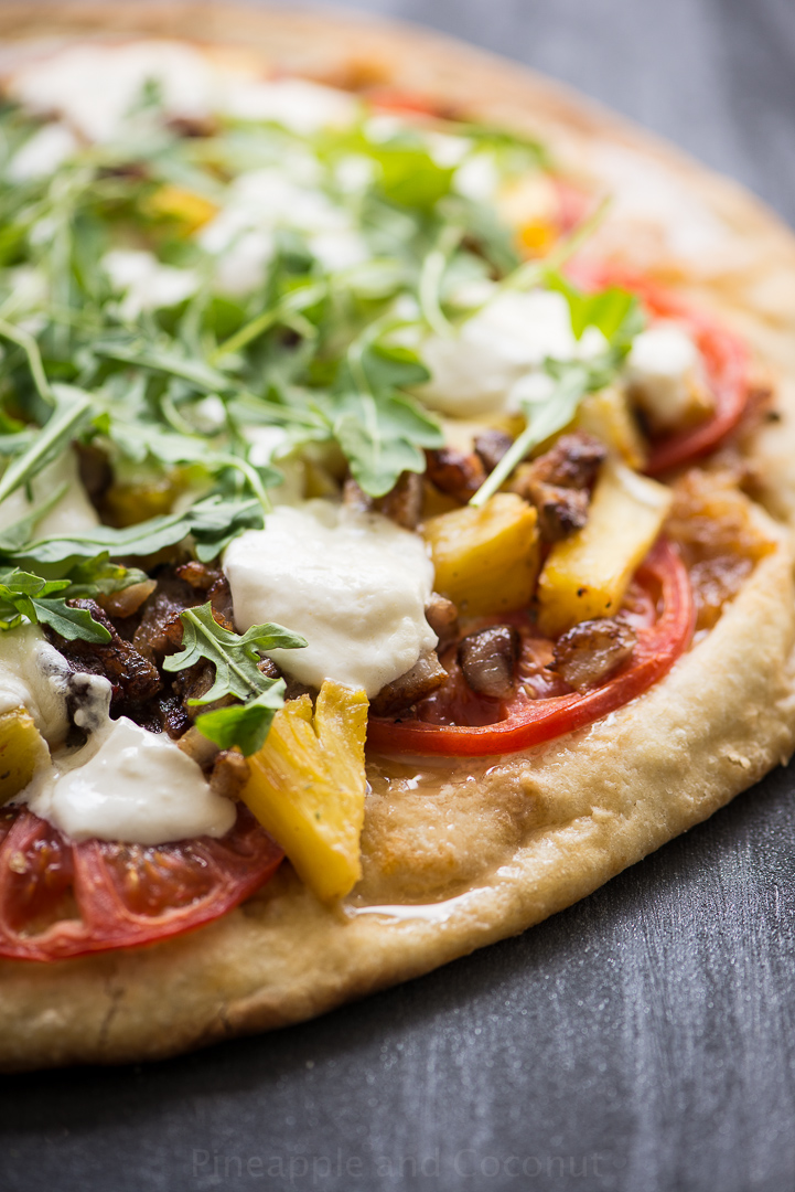 13753176014 f300c4ab0b o Grilled Pineapple, Crispy Pork Belly, Burrata and Arugula Pizza.