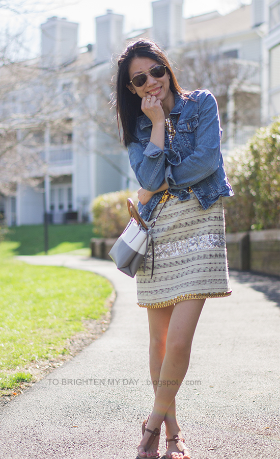 denim jacket, tweed and sequin dress, crossbody colorblock bag, brown sandals
