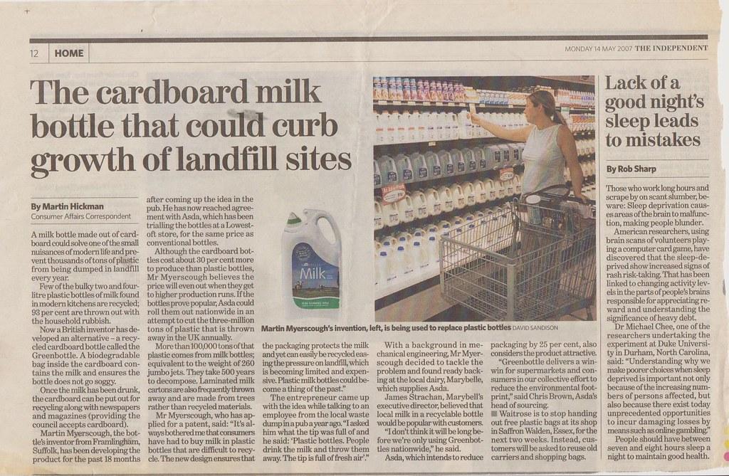 Cardboard milk bottles