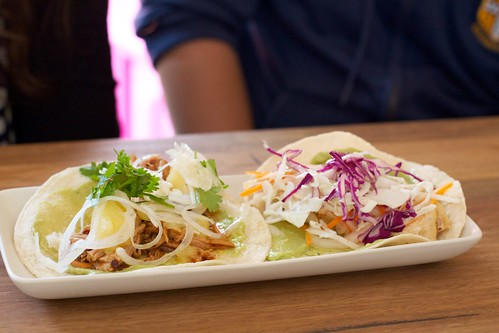 Braised pork and fish tacos