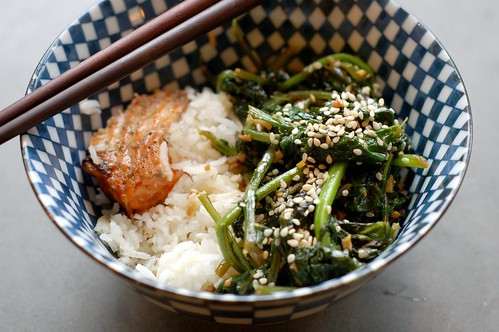 Stir-fried winter greens with grilled salmon & basmati rice by Eve Fox, Garden of Eating blog, copyright 2011