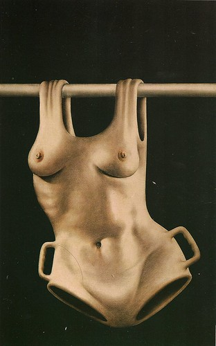 illustration of a woman's torso hung from a wooden rod like a garment
