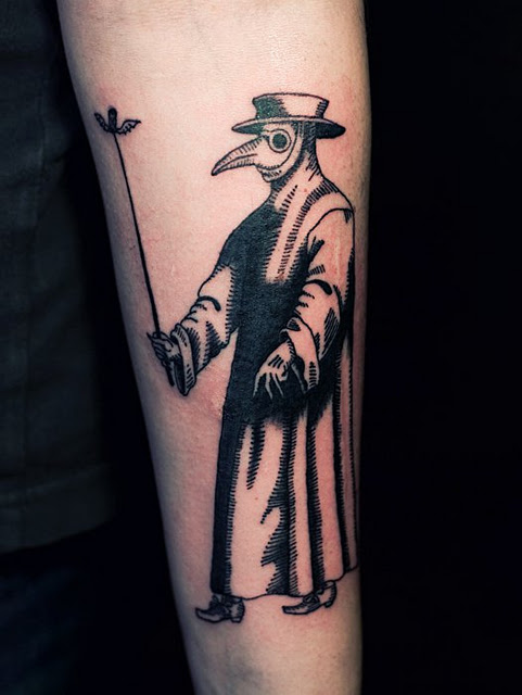 Ien Levin tattoo - plague doctor