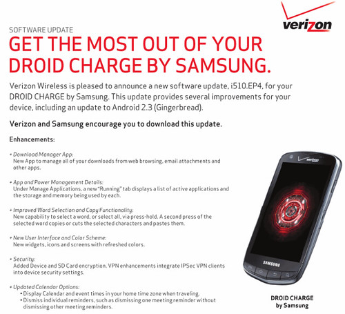 Samsung DROID Charge_software update