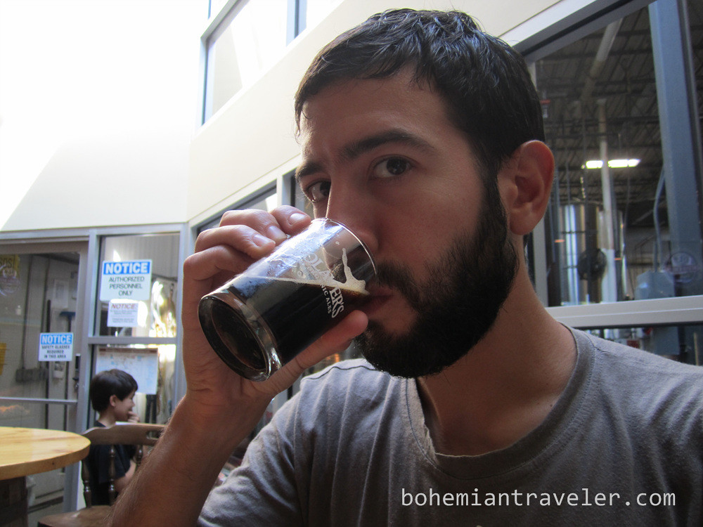 Stephen drinking Wolavers Oatmeal Stout
