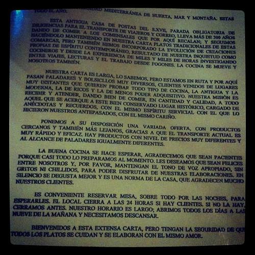Carta bienvenida Restaurante perdido by rutroncal