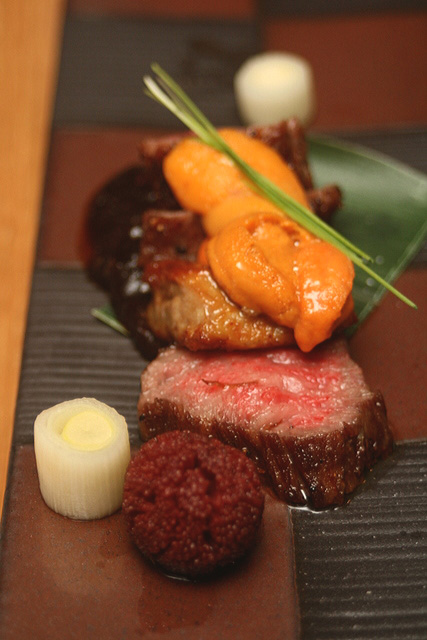 Grilled Item no.2: Grade A5 Hida Wagyu Beef with Foie Gras, topped with Sea Urchin, served on Homemade Grilled Miso