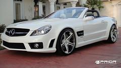 """Mercedes SL65 widebody AMG by Prior Design with Forgiato 20"""" Aggio white wheels"""