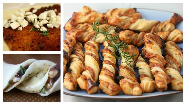 bastoncini di sfoglia con gorgonzola, rosmarino e fichi