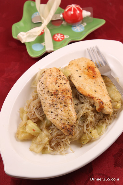 Day 342 - Cajun Chicken served over Cabbage Noodles