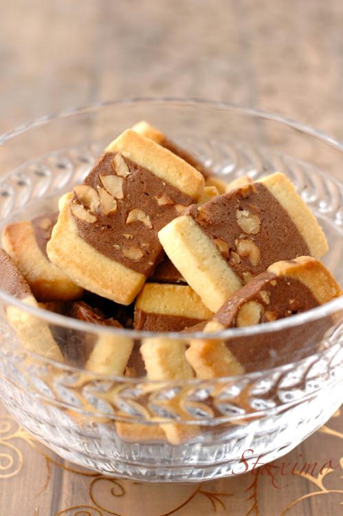 Sablés bi-color con cacao e nocciole