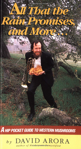 Cover of All That the Rain Promises and More featuring the author, a white man in a tux, holding a trumpet and a bunch of mushrooms