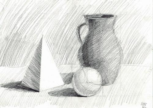 Sphere, pyramid, vase