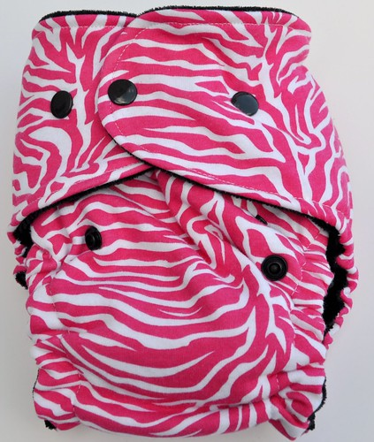One size Original Bum Fitted Fushia  Zebra Cotton Velour