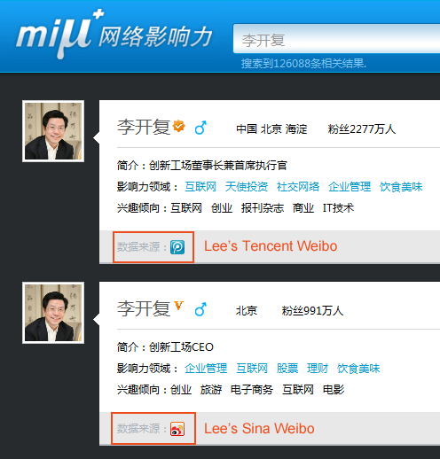 Lee's Weibo accounts
