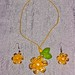 Tagua yellow flower short necklace with earrings