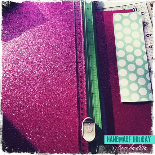 trim glitter cardstock & adhesive fabric
