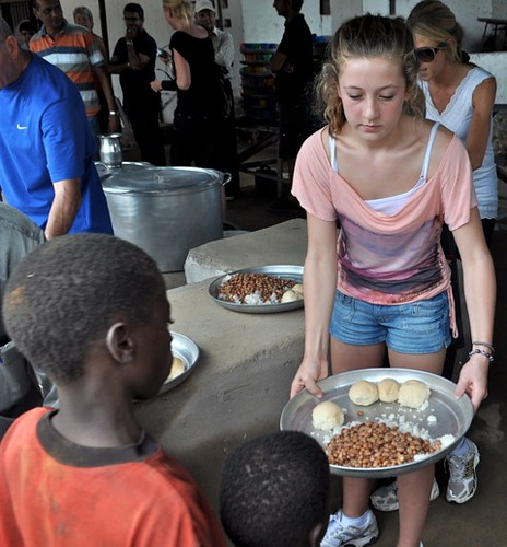 Lauren helps at the Feeding Station