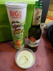 Crisps, guacamole & beer