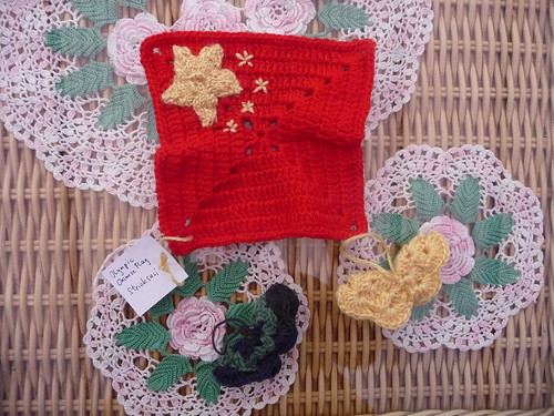 The 'Chinese Flag' made by Stricksusi with gorgeous SIBOL Butterflies too! Thank you!