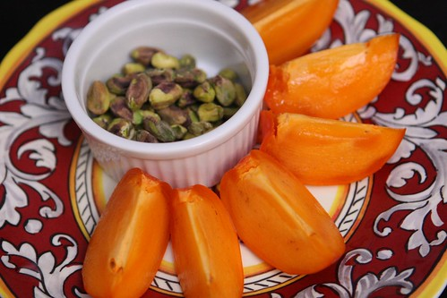 Persimmon Wedges with Toasted Pistachios