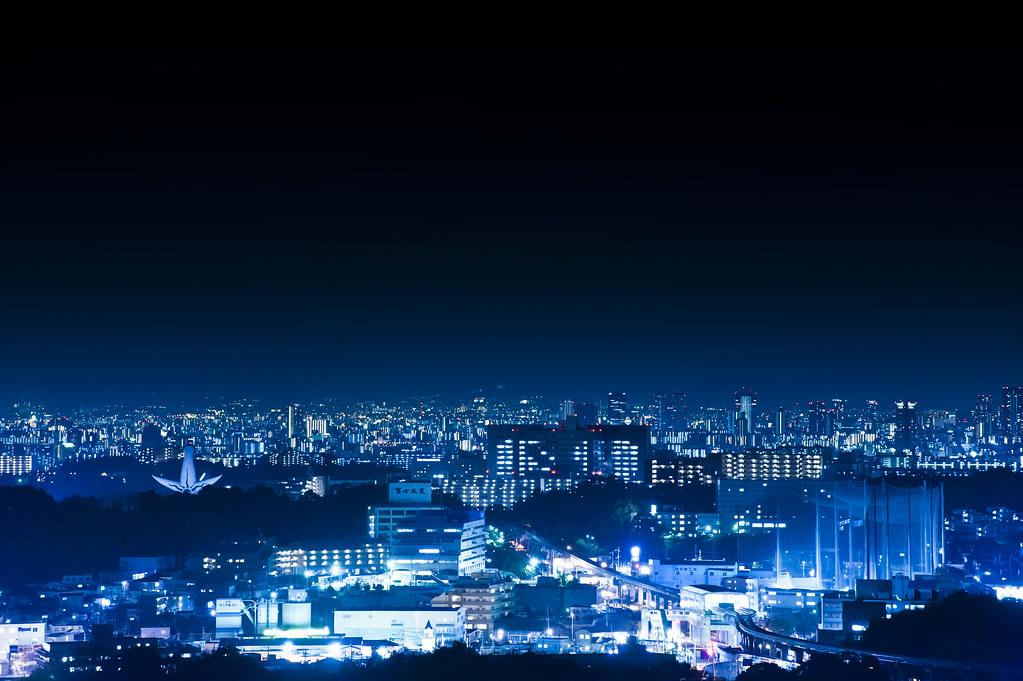 大阪を見る背中