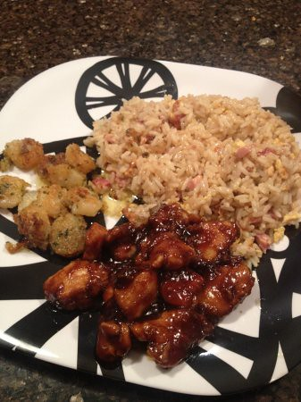 Ham fried rice, shirmp scampi, Tso Chicken
