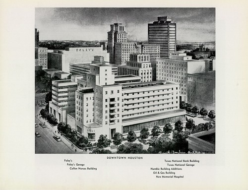 Downtown Houston w/ Foley's, Foley's Garage, Cullen Nurses Building, Texas National Bank Building, Texas National Garage, Humble Building Additions, Oil & Gas Building, and New Memorial Hospital