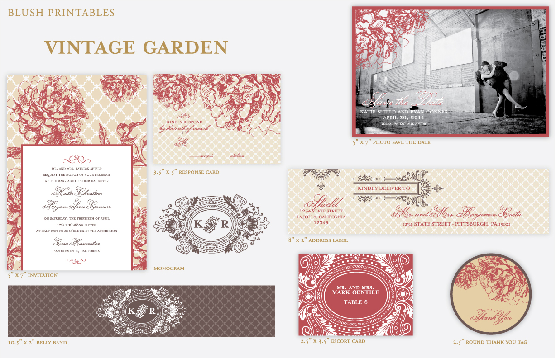 Vintage Garden - Wedding Suite Design Options
