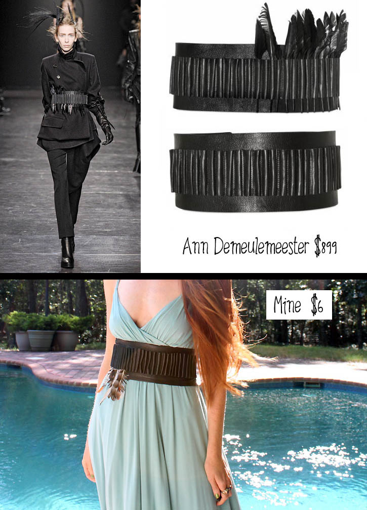diy ann demeulemeester leather belt by Crochet Clouds 2