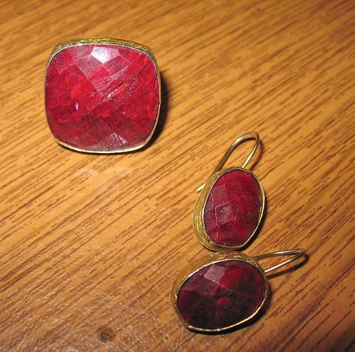 Turkish ruby ring & earrings