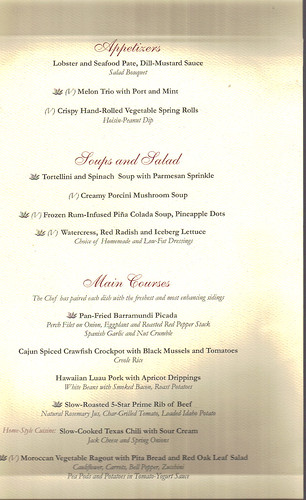 Caribbean Princess Menus As Of May 2011 Cruise Critic Message Board Forums