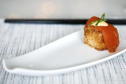 Chef's amuse bouche: salmon on crispy nigiri. (Blue Mountain Brut, Okanagan Valley)