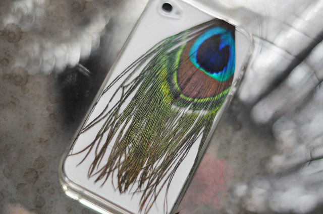 iphone case with peacock feather