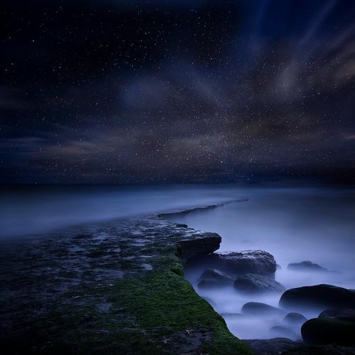 無料写真素材, 自然風景, ビーチ・海岸, 夜空, 星