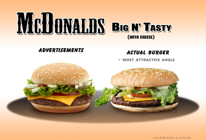 big n tasty, mcdonalds, fast food, false advertising, actual, false, comparison, ads, vs, reality, burger