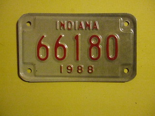 INDIANA 1988 ---MOTORCYCLE PLATE #66180